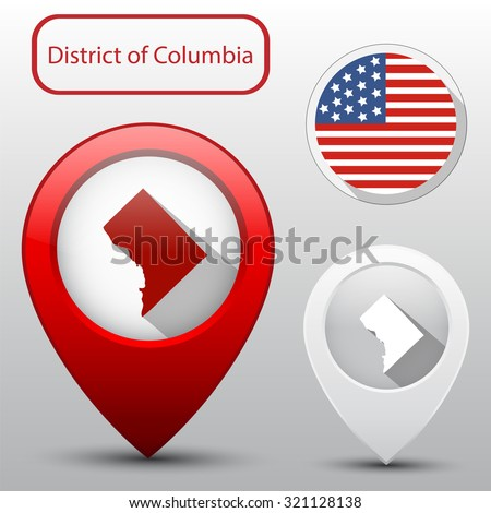 District of Columbia state with flag america and map pointer - stock vector