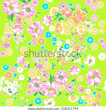Ditsy bright flower print ~ seamless background - stock vector