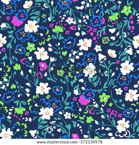 ditsy floral design ~ seamless background - stock vector