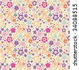 Ditsy Summer Floral seamless wallpaper - stock vector