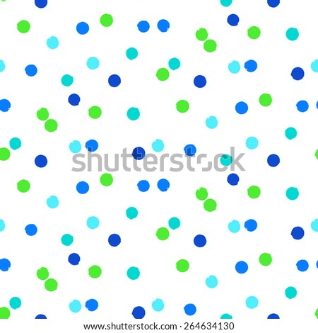 Ditsy vector polka dot pattern with scattered hand drawn small circles in bright blue green colors. Seamless texture in vintage 1960s fashion style. Modern hipster background with painted round shapes - stock vector
