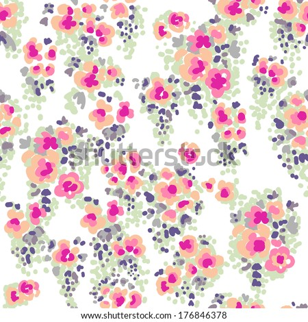 Ditsy watercolor flowers ~ seamless vector background - stock vector
