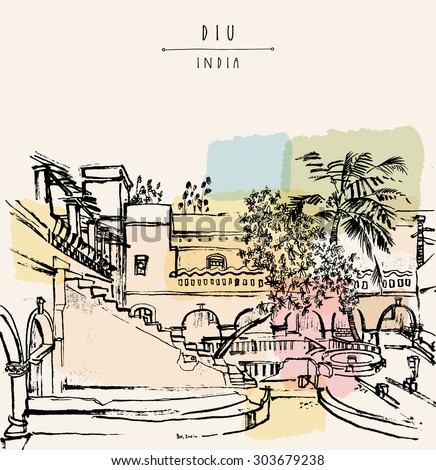 "Diu, India. Amazing old traditional Portuguese colonial building. Artistic vector freehand drawing. Travel sketch. Touristic poster banner postcard template with ""Diu, India"" hand lettering"