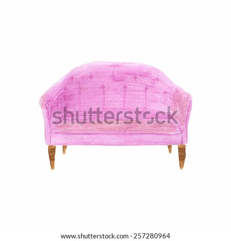 Divan. Watercolor sofa on the white background, aquarelle. Vector illustration. Hand-drawn decorative element useful for invitations, scrapbooking, design. Home and furniture  - stock vector