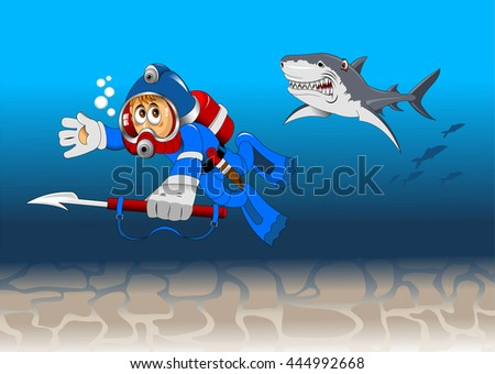 Diver among reeves float to the sunk ship - stock vector