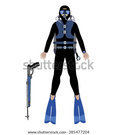 diver vector illustrate, Underwater scuba diver hunter,  scuba gun , illustration divers with mask,  aqualung, and flippers - stock vector