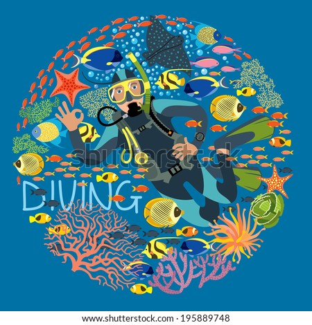 Diver With Underwater Plants And Tropical Fishes Text Diving - stock vector