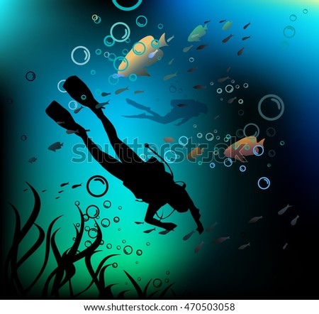 Divers in a deep immersion. Vector illustration.