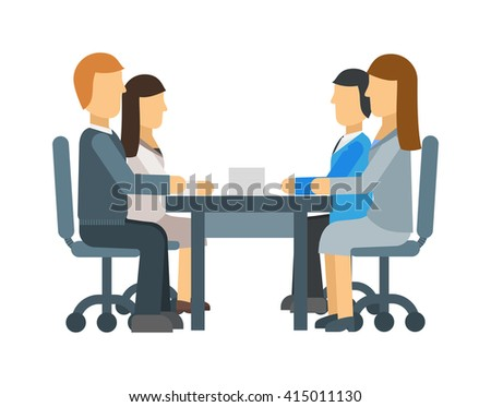 Diverse business meeting teamwork corporate office character vector. Business meeting teamwork and corporate office business meeting. Business meeting conference male seminar table person. - stock vector