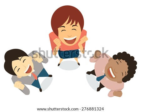 Diverse businesspeople in amazement expression, happy, shocking, excited, cheerful, having fun, winning. Top view angle. Flat design.  - stock vector