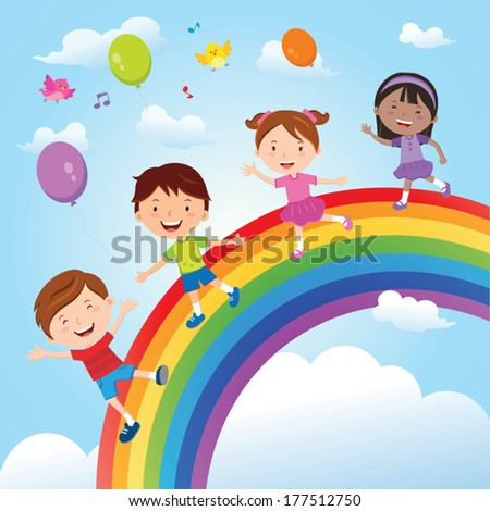 Diverse children on the rainbow. Vector illustration of group of happy children having fun on the rainbow. - stock vector