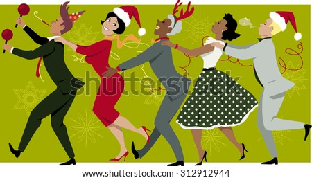 Diverse group of people dressed in vintage fashion and Christmas hats dancing Conga line, snowflakes and streamers on the background, EPS 8 - stock vector