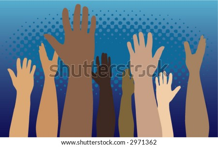 Diverse group of raised hands - stock vector