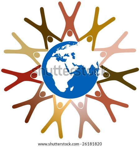 Diverse group of symbol people hold hands in a ring around planet earth. - stock vector