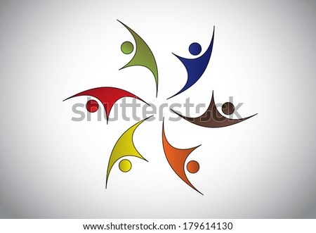 Diverse Happy Young people of different color jumping & dancing with joy & happiness  celebrating event or occasion together – team strength concept illustration art - stock vector