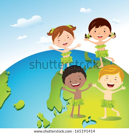 Diverse kids love our earth. Earth day, Recycle day!  - stock vector