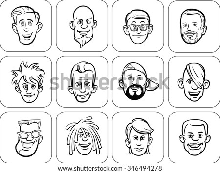diverse men faces outline vector illustration - stock vector