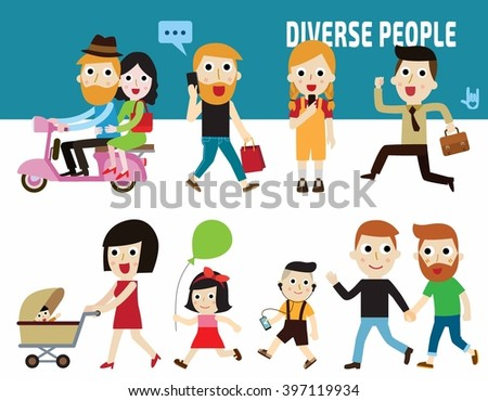 diverse people.citizen concept.flat cute cartoon design illustration.isolated on white background. - stock vector