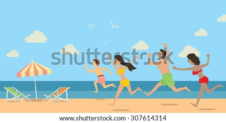 Diverse people, man and woman, running and jumping to the beach and sea in happy holiday concept. Flat design.  - stock vector