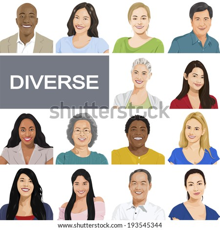 Diverse People on White Background. - stock vector