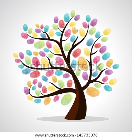 Diversity color tree finger prints illustration background. Vector file layered for easy manipulation and custom coloring.  - stock vector