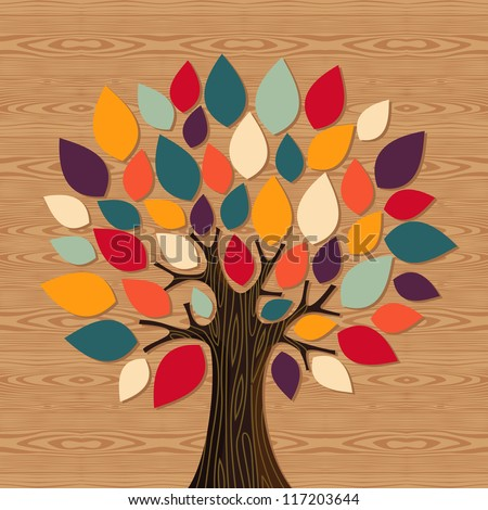 Diversity concept tree illustration. Vector file layered for easy manipulation and custom coloring. - stock vector