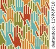 Diversity hands up seamless pattern background. Vector illustration layered for easy manipulation and custom coloring. - stock photo
