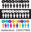 diversity illustration, man and woman icon colors, vector illustration - stock vector