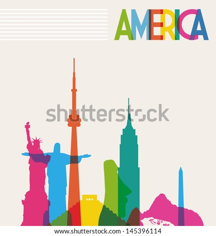 Diversity monuments of America, famous skyline colors transparency. Vector illustration layered for easy manipulation and custom coloring. - stock vector
