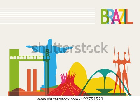 Diversity monuments of Brazil, famous skyline colors transparency. EPS10 vector organized in layers for easy editing.