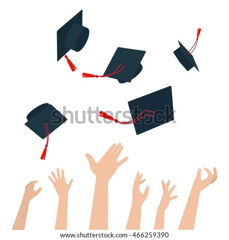Diversity of People Holding Certificates and Throwing Graduation Caps. Vector
