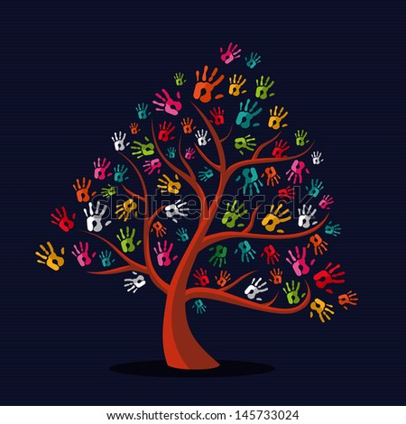Diversity  solidarity hand prints tree illustration over stripe pattern background. Vector file layered for easy manipulation and custom coloring. - stock vector