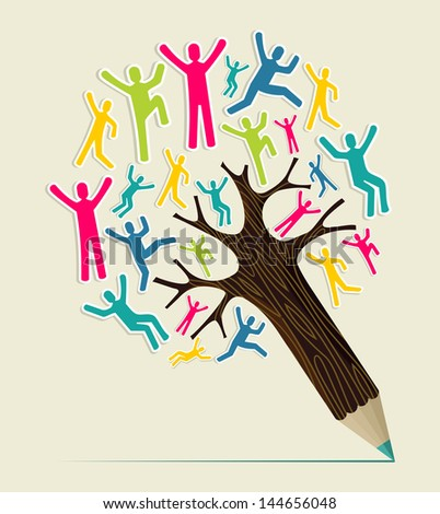 Diversity world people concept pencil tree. Vector illustration layered for easy manipulation and custom coloring. - stock vector