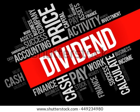 Dividend word cloud collage, business concept background - stock vector