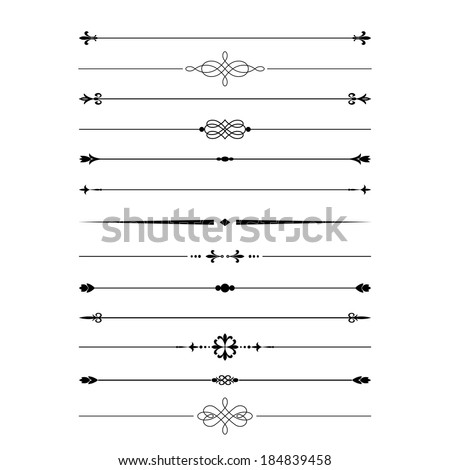 Divider set isolated on white. Calligraphic design elements. - stock vector