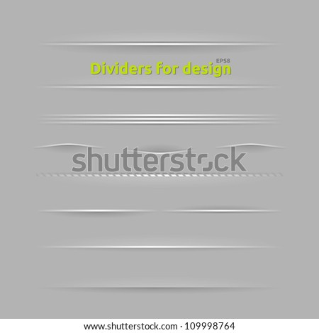 Dividers for design. Set of design elements with different shadows. - stock vector