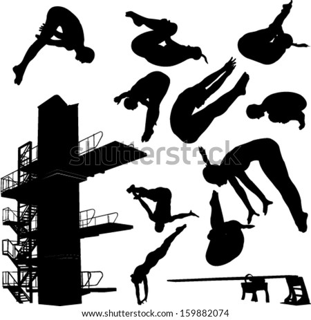 diving collection 1 - vector - stock vector