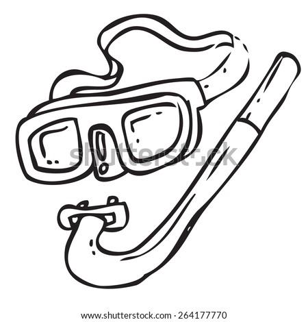 Diving Equipment Doodle - stock vector