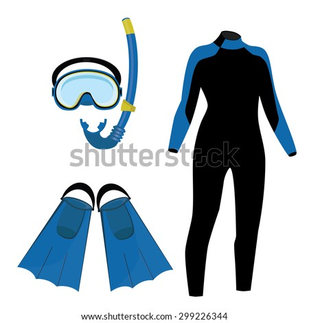 Diving equipment vector icon set with blue diving mask and snorkel or scuba, flippers and diving suit. Diving costume - stock vector