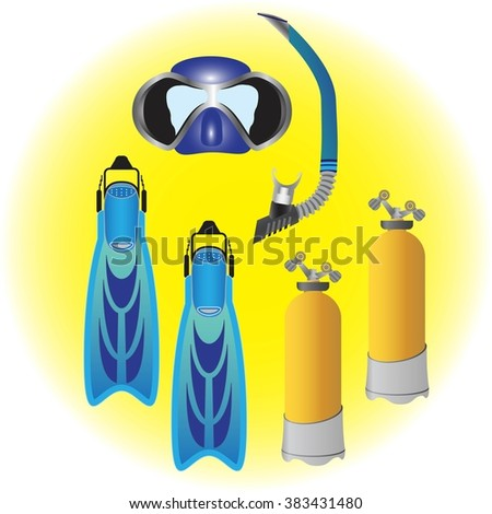 Diving mask, diving tube, swimming equipment, snorkeling. Snorkeling or Scuba Fins or Swimming flippers. Scuba diving air tanks.  Vector illustration - stock vector