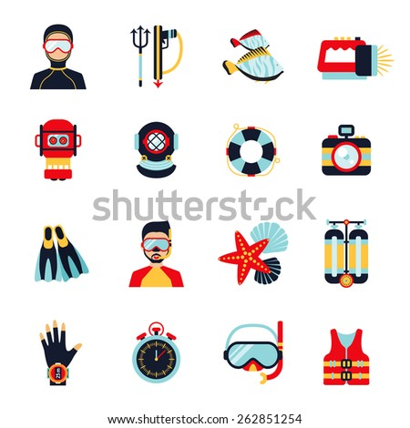 Diving sport icons set with helmet camera lifebelt watch isolated vector illustration - stock vector