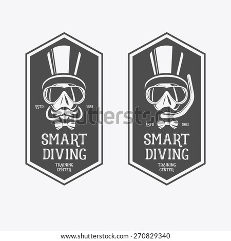 Diving vintage labels. Smart diving, training center. - stock vector