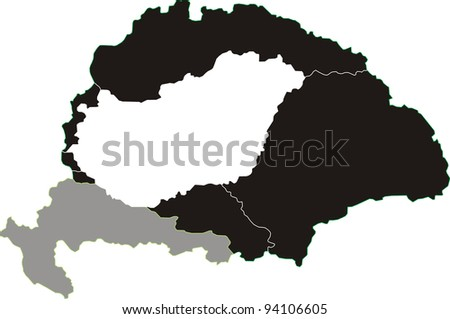 Division of the Hungarian Empire at Trianon - stock vector