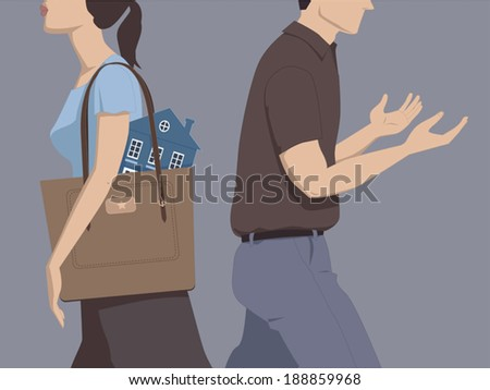 Divorce and division of assets. Man and woman walking away from each other, the woman carrying a house in her purse, the man going empty-handed - stock vector