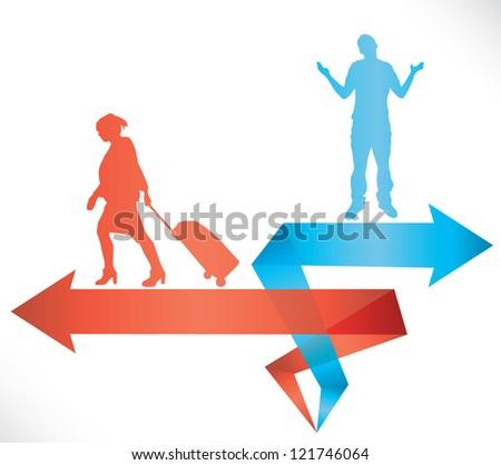 divorce brake up illustration - stock vector
