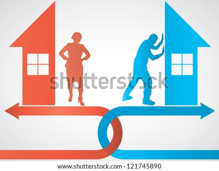 divorce brake up illustration with house - stock vector