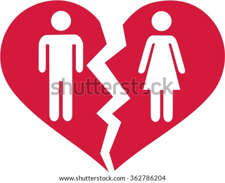 Divorced couple in broken heart - stock vector