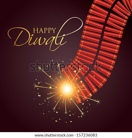Diwali Burning Crackers With Space For Your Text