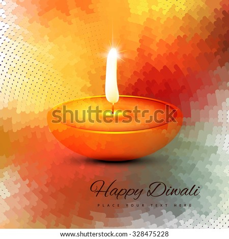 Diwali burning diya colorful vector background - stock vector