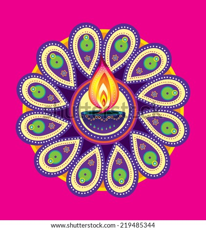 Diwali candle light, indian new year element (vector) - stock vector